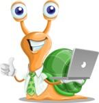 Snail with a Tie Cartoon Vector Character AKA Collin The Ecologist - Laptop 1