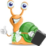Snail with a Tie Cartoon Vector Character AKA Collin The Ecologist - Brifcase 1