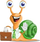 Snail with a Tie Cartoon Vector Character AKA Collin The Ecologist - Brifcase 2