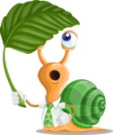 Snail with a Tie Cartoon Vector Character AKA Collin The Ecologist - Leaf
