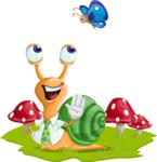Snail with a Tie Cartoon Vector Character AKA Collin The Ecologist - Field