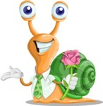 Snail with a Tie Cartoon Vector Character AKA Collin The Ecologist - Rose
