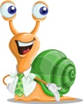 Snail with a Tie Cartoon Vector Character AKA Collin The Ecologist - Show
