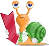 Snail with a Tie Cartoon Vector Character AKA Collin The Ecologist - Pointer 3