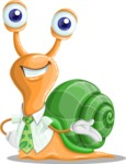 Snail with a Tie Cartoon Vector Character AKA Collin The Ecologist - Show2