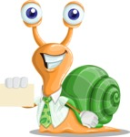 Snail with a Tie Cartoon Vector Character AKA Collin The Ecologist - Sign 1