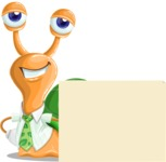 Snail with a Tie Cartoon Vector Character AKA Collin The Ecologist - Sign 7