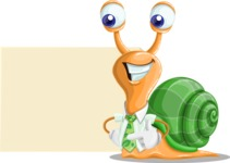 Snail with a Tie Cartoon Vector Character AKA Collin The Ecologist - Sign 8