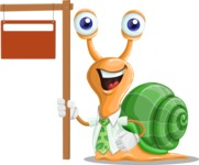 Snail with a Tie Cartoon Vector Character AKA Collin The Ecologist - Sign 9