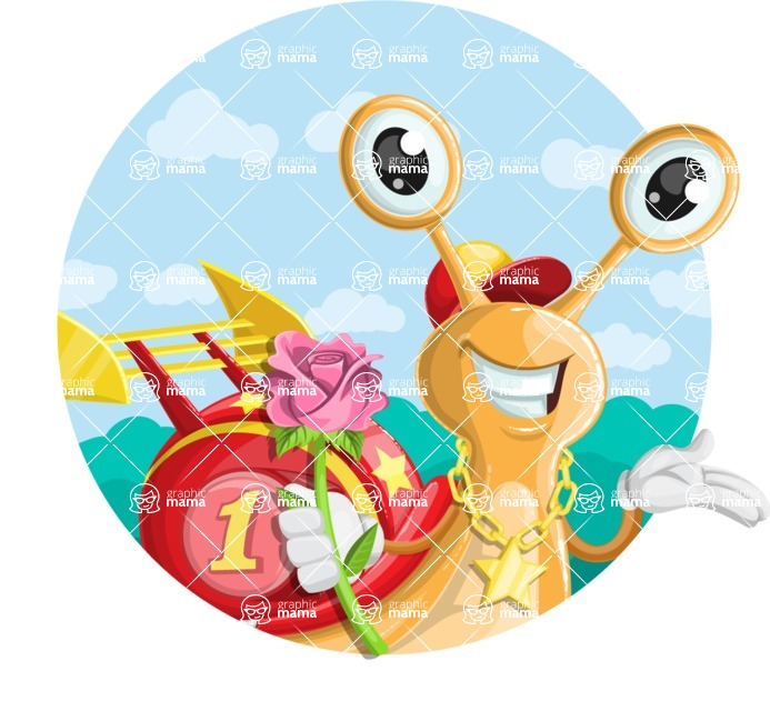 Racer Snail Cartoon Vector Character AKA Mr. Speedy - Shape 1