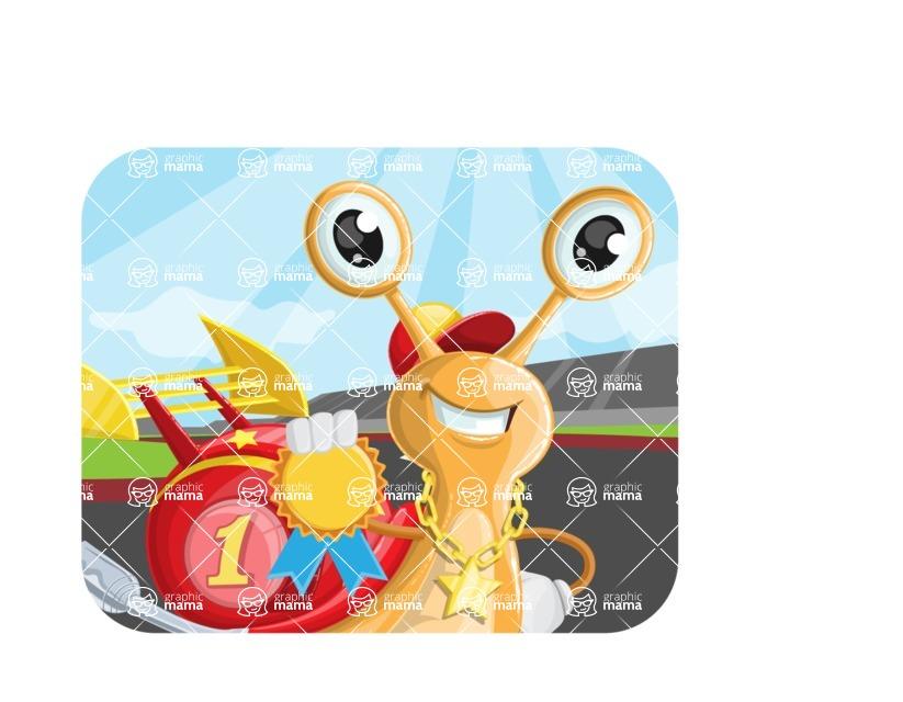 Racer Snail Cartoon Vector Character AKA Mr. Speedy - Shape 2