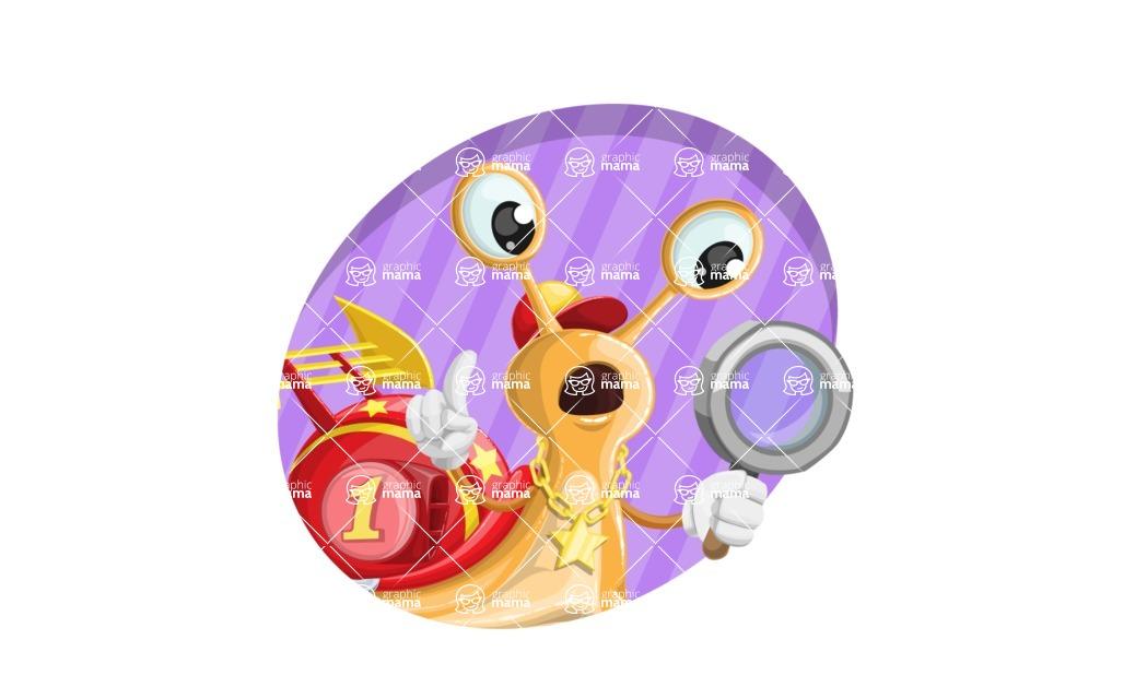 Racer Snail Cartoon Vector Character AKA Mr. Speedy - Shape 4