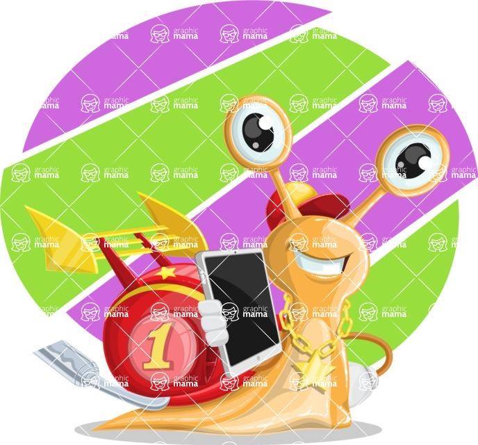 Racer Snail Cartoon Vector Character AKA Mr. Speedy - Shape 10