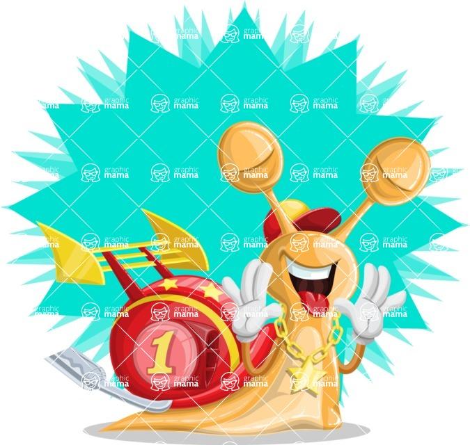 Racer Snail Cartoon Vector Character AKA Mr. Speedy - Shape 11