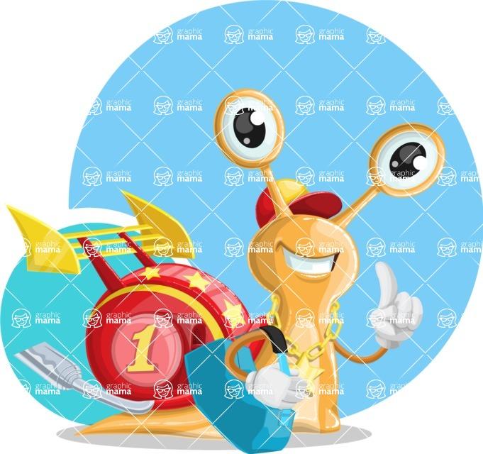 Racer Snail Cartoon Vector Character AKA Mr. Speedy - Shape 12