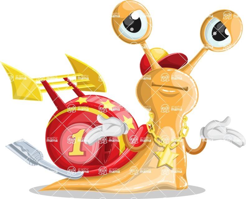 Racer Snail Cartoon Vector Character AKA Mr. Speedy - Sorry