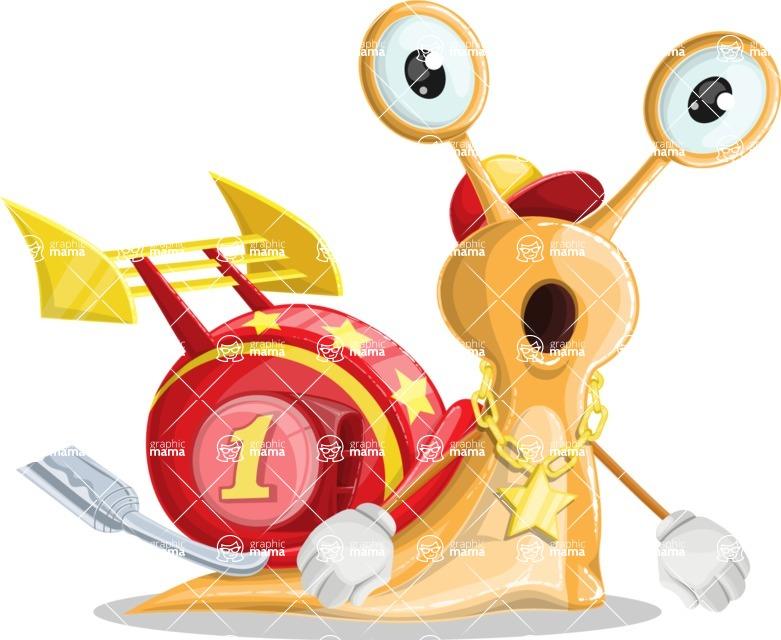 Racer Snail Cartoon Vector Character AKA Mr. Speedy - Stunned