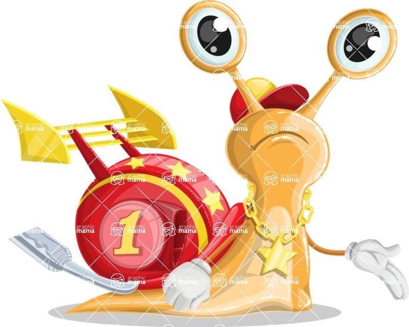 Racer Snail Cartoon Vector Character AKA Mr. Speedy - Sad