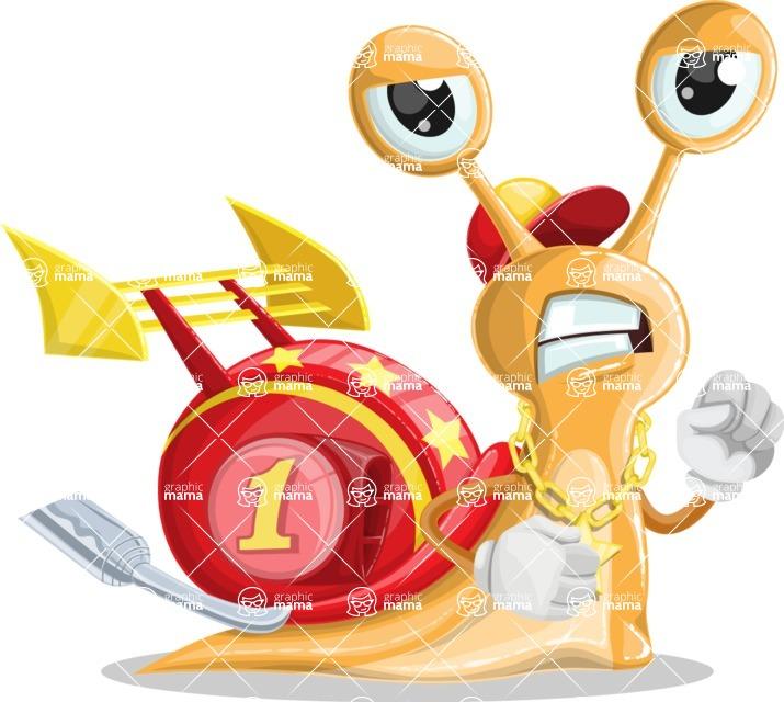 Racer Snail Cartoon Vector Character AKA Mr. Speedy - Angry