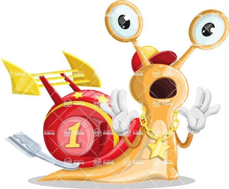 Racer Snail Cartoon Vector Character AKA Mr. Speedy - Shocked