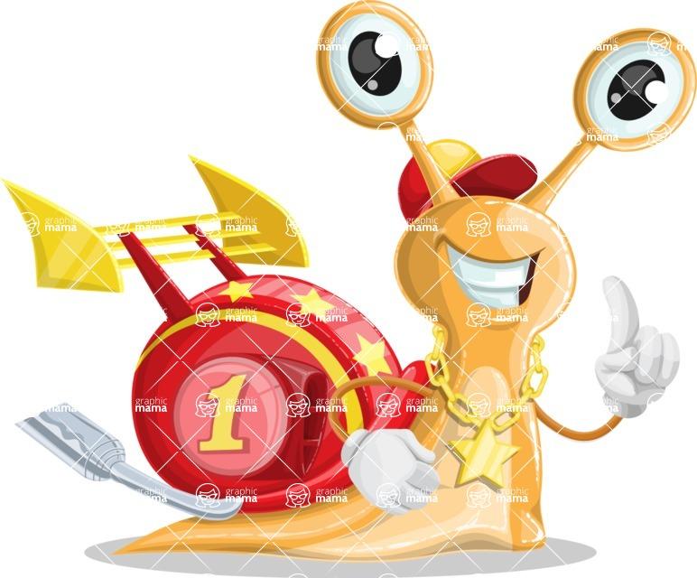Racer Snail Cartoon Vector Character AKA Mr. Speedy - Attention
