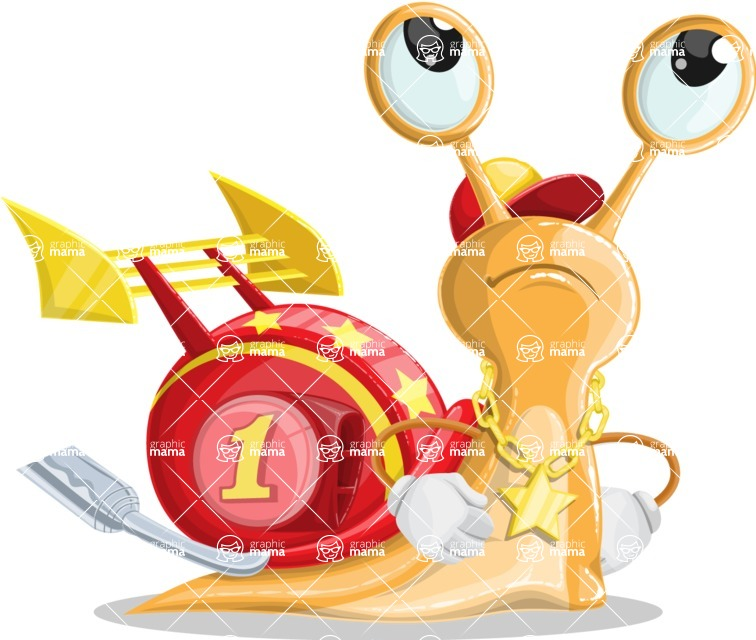 Racer Snail Cartoon Vector Character AKA Mr. Speedy - Roll Eyes