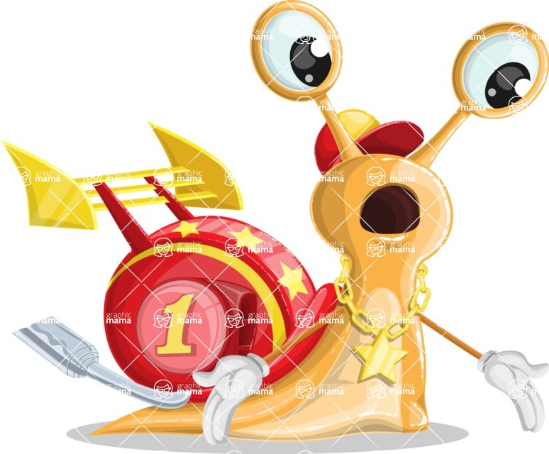 Racer Snail Cartoon Vector Character AKA Mr. Speedy - Lost
