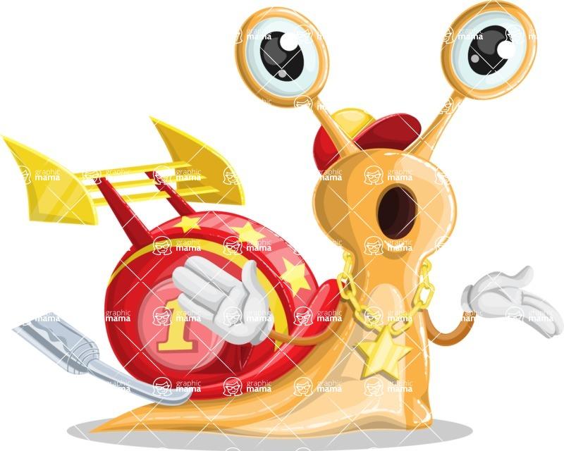 Racer Snail Cartoon Vector Character AKA Mr. Speedy - Confused