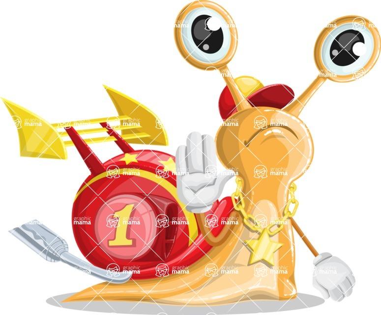 Racer Snail Cartoon Vector Character AKA Mr. Speedy - Goodbye