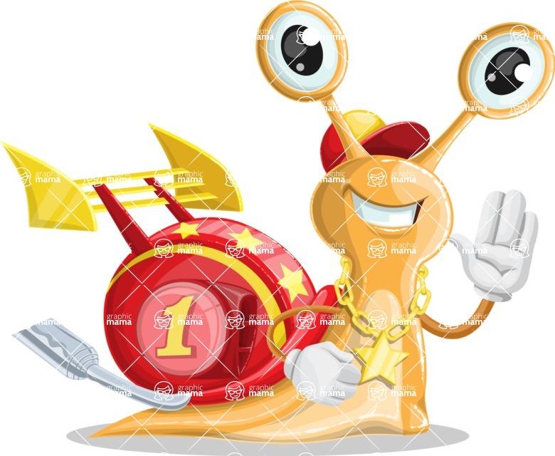 Racer Snail Cartoon Vector Character AKA Mr. Speedy - Hello