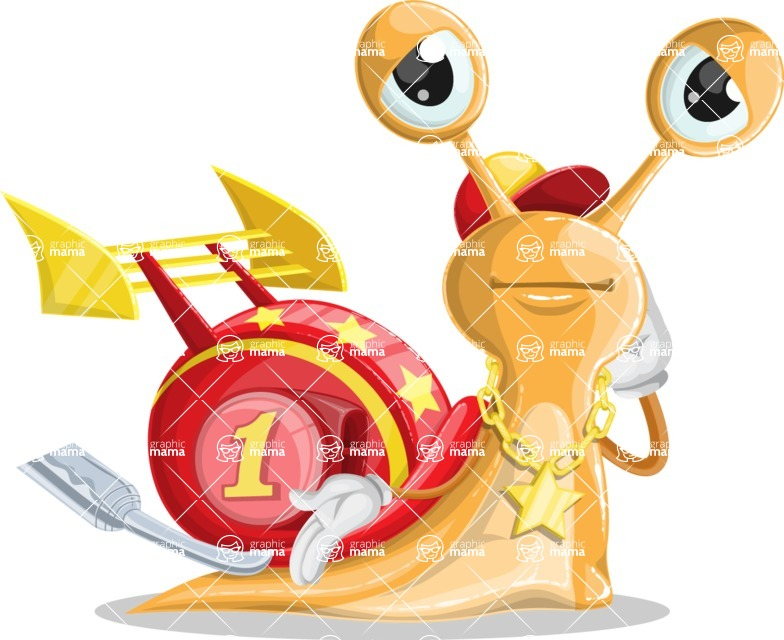 Racer Snail Cartoon Vector Character AKA Mr. Speedy - Oops