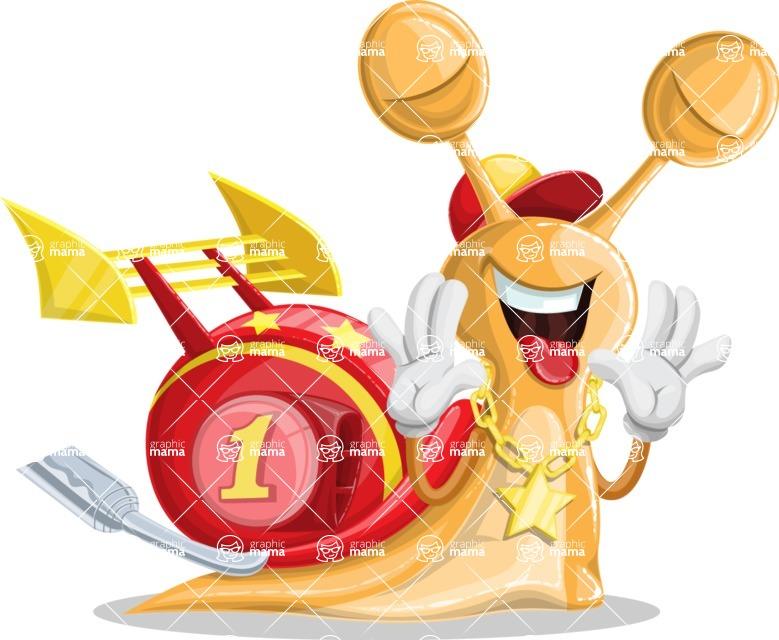 Racer Snail Cartoon Vector Character AKA Mr. Speedy - Making Face
