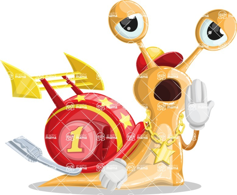 Racer Snail Cartoon Vector Character AKA Mr. Speedy - Bored