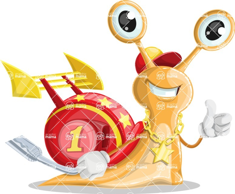 Racer Snail Cartoon Vector Character AKA Mr. Speedy - Thumbs Up