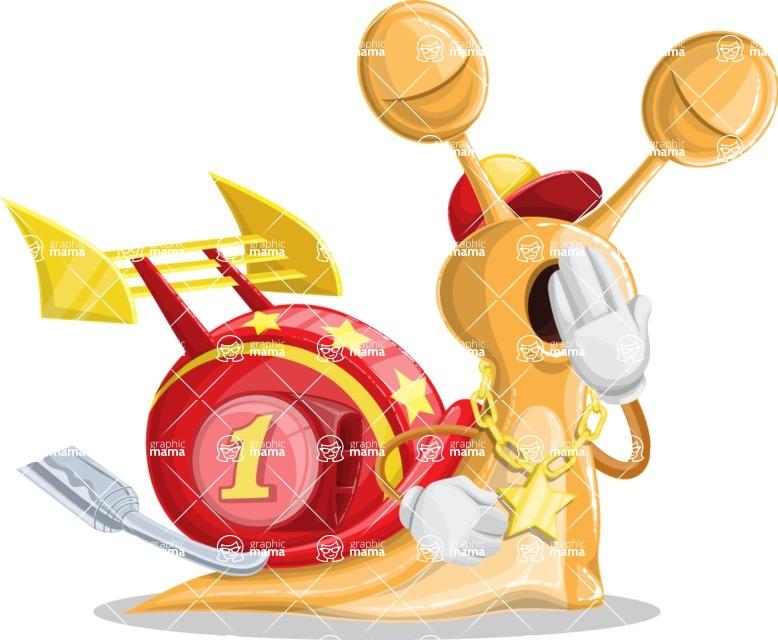 Racer Snail Cartoon Vector Character AKA Mr. Speedy - Bored 2