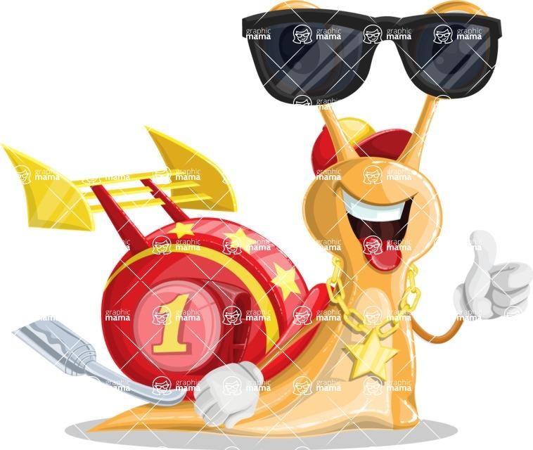 Racer Snail Cartoon Vector Character AKA Mr. Speedy - Sunglasses