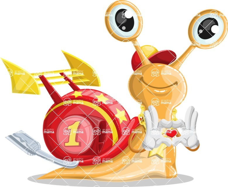 Racer Snail Cartoon Vector Character AKA Mr. Speedy - Show Love