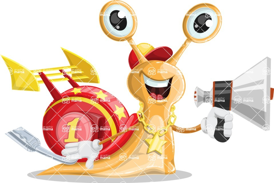 Racer Snail Cartoon Vector Character AKA Mr. Speedy - Loudspeaker
