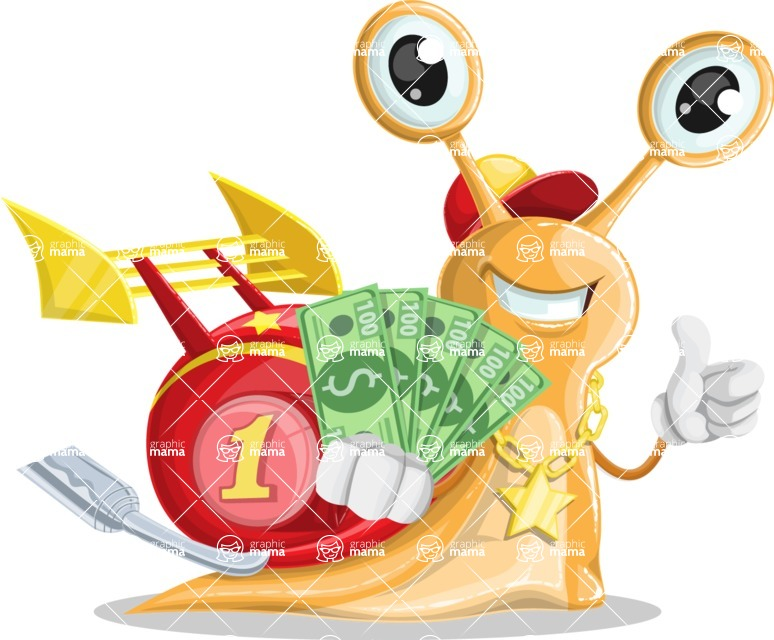 Racer Snail Cartoon Vector Character AKA Mr. Speedy - Show me the Money