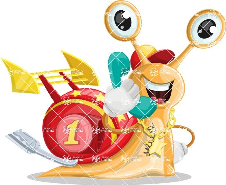Racer Snail Cartoon Vector Character AKA Mr. Speedy - Support