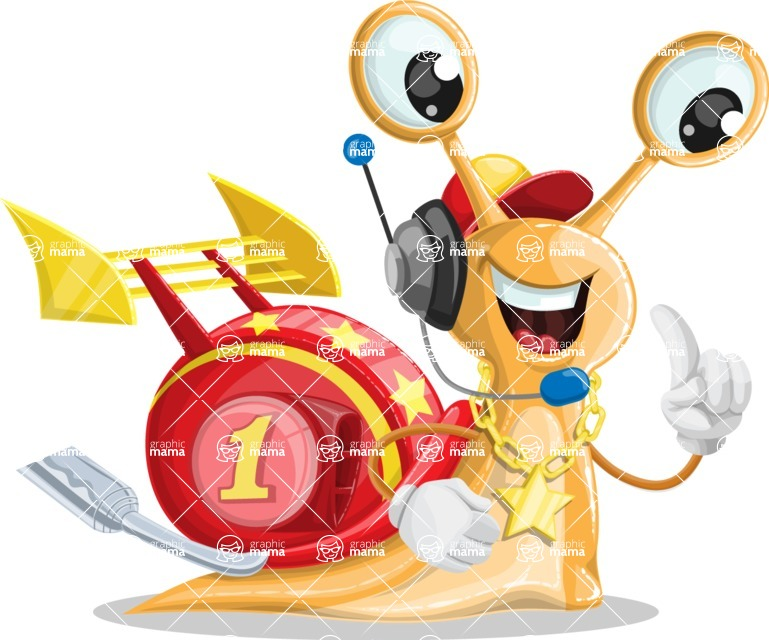 Racer Snail Cartoon Vector Character AKA Mr. Speedy - Support 2