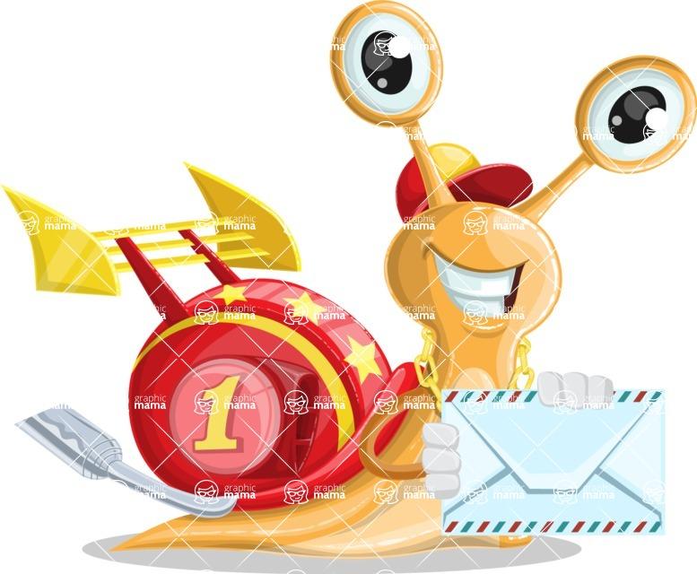 Racer Snail Cartoon Vector Character AKA Mr. Speedy - Letter