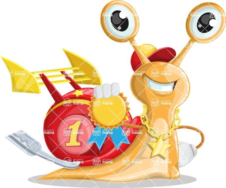 Racer Snail Cartoon Vector Character AKA Mr. Speedy - Ribbon