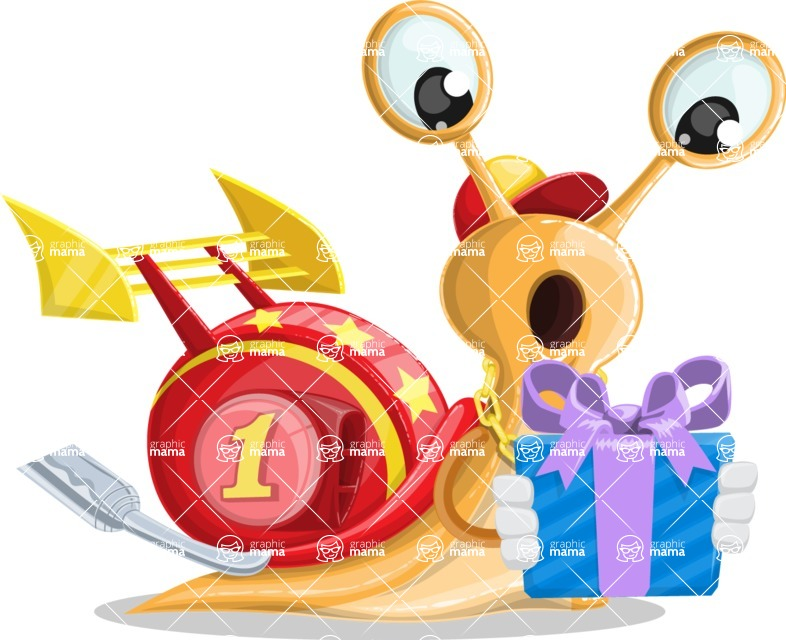 Racer Snail Cartoon Vector Character AKA Mr. Speedy - Gift