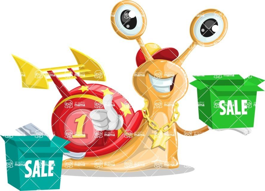 Racer Snail Cartoon Vector Character AKA Mr. Speedy - Sale