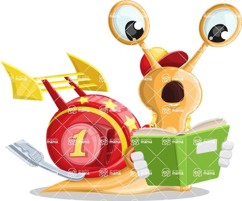 Racer Snail Cartoon Vector Character AKA Mr. Speedy - Book 1