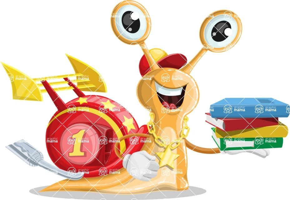 Racer Snail Cartoon Vector Character AKA Mr. Speedy - Book 2