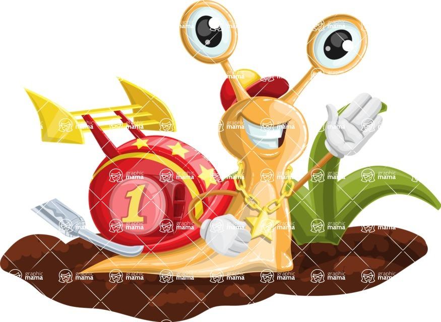 Racer Snail Cartoon Vector Character AKA Mr. Speedy - Ground