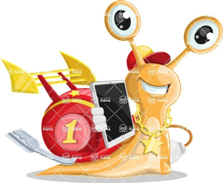 Racer Snail Cartoon Vector Character AKA Mr. Speedy - iPad3