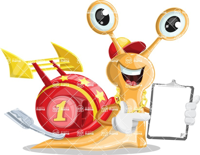 Racer Snail Cartoon Vector Character AKA Mr. Speedy - Notepad 1